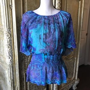 Live and Let Live paisley blouse w/gathered waist